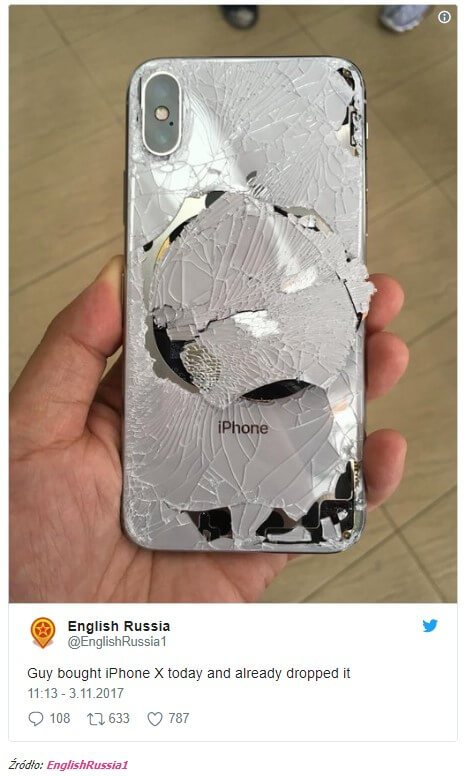 iPhone X szklana obudowa
